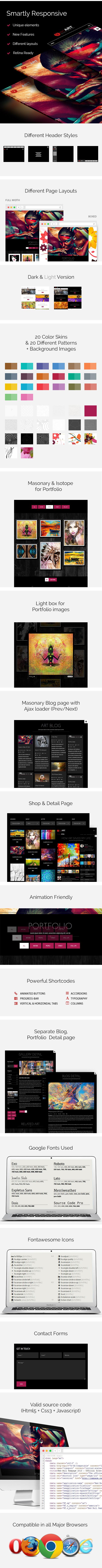 Red Art - HTML Portfolio / Art Gallery Website Template - 1