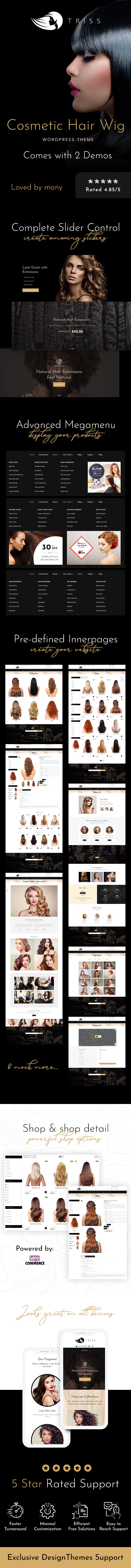 Triss - Salon, Hair Extension & Beauty Store WooCommerce Theme - 1